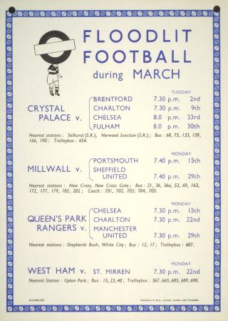 Poster; Floodlit football during March, unknown, 1954