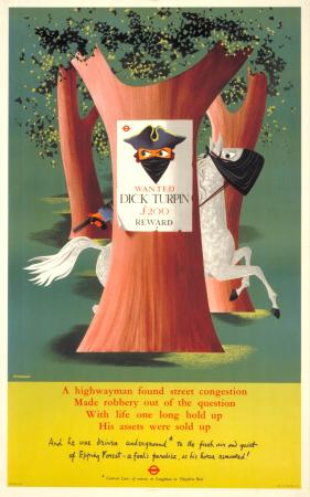 Poster; To Epping Forest; Dick Turpin, by John Bainbridge, 1956
