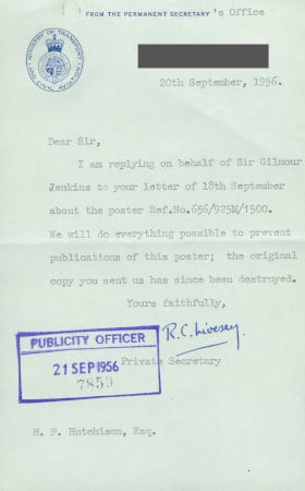 Related object: Letter; from R.C. Livesey, Permanent Secretary