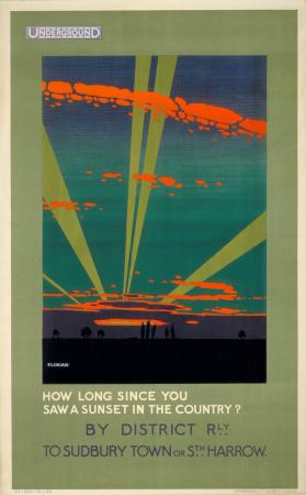 Poster; How long since you saw a sunset in the country , by Harold Sandys Williamson, see Florian, 1922