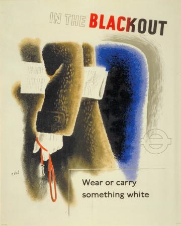 Poster; in the blackout wear or carry something white, by zero (hans schleger), 1943