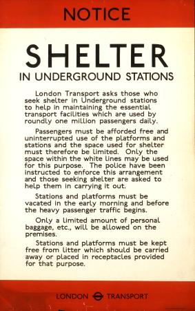 Poster; Notice; shelter in Underground stations, unknown, 1940