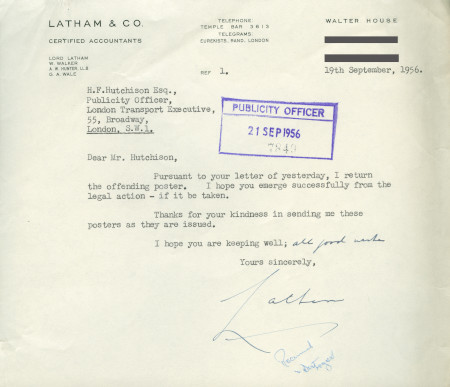 Related object: Letter; from Mr Latham, Latham & Co., Certified Accountants  to Harold Hutchison, 19 Sep 1956