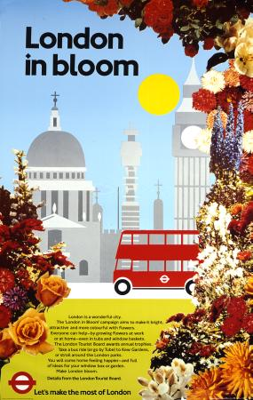 Poster; London in bloom, by Mike A Welch, London Transport Publicity Office, 1980