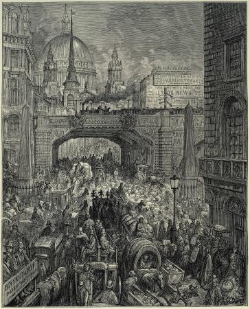 Digital image; illustration of Ludgate Hill by Gustave Dore, 1872