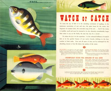 Pair poster; watch or catch, by tom eckersley, 1954