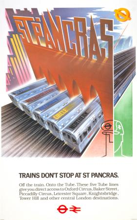 Poster; Trains dont stop at St Pancras, by Mick Brownfield, 1980