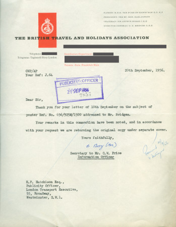 Related object: Letter; from C. W. Price, Information Officer, The British Travel and Holidays Association  to Harold Hutchison, 20 Sep 1956