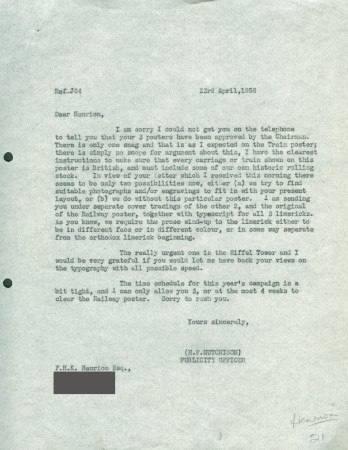 Related object: Letter; from Harold Hutchison to F.H.K. Henrion, 23 Apr 1956