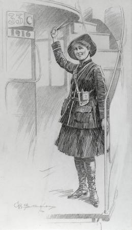 B/w print; photograph taken from the original pencil drawing of a the first world war woman bus conductor, 1916
