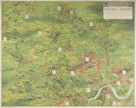 Poster; Underground map; western suburbs, by Charles Sharland, 1912