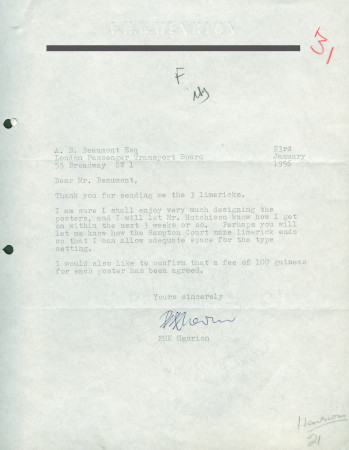 Related object: Letter; from  F.H.K. Henrion to A.B. Beaumont, 23 Jan 1956