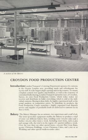 Leaflet; croydon food production centre, issued by london transport, 1966