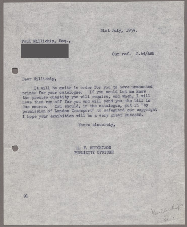 Related object: Letter; from Harold Hutchison to Paul Millichip about prints of his poster, 21 July 1959