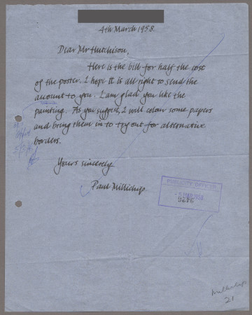 Related object: Letter; from Paul Millichip to Harold Hutchison, 4 March 1958