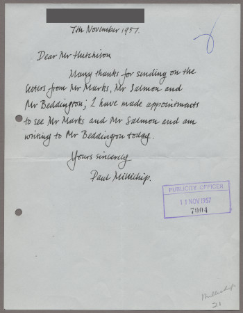 Related object: Letter; from Paul Millichip to Harold Hutchison, 7 November 1957