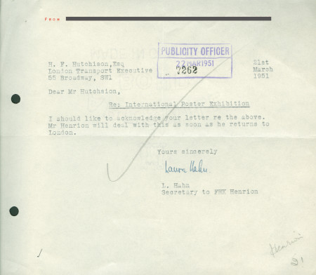Related object: Letter; from Laura Hahn, secretary to F.H.K. Henrion, to Harold Hutchison, 21 Mar 1951