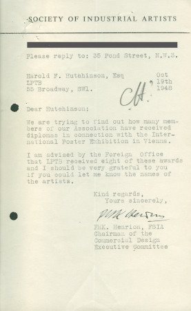 Related object: Letter; from F.H.K. Henrion to Harold Hutchison, 19 Oct 1948
