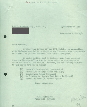 Related object: Letter; from Harold Hutchison to F.H.K. Henrion, 29 Oct 1948