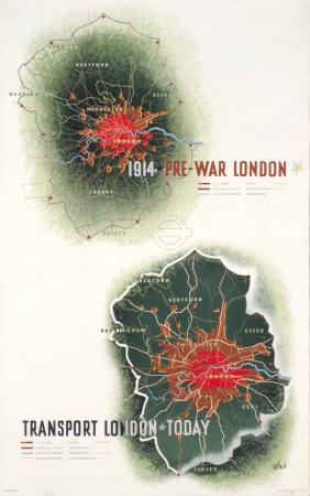 Poster; Evolution of London; 1914 - 1936, by Zero Hans Schleger, 1936