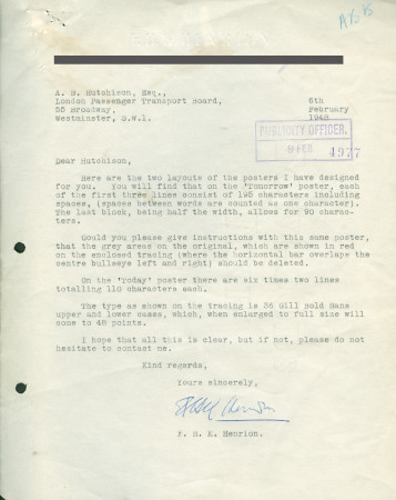 Related object: Letter; from F.H.K. Henrion to Harold Hutchison, 6 Feb 1948