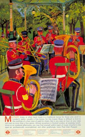 Poster; Bands in the park, by Ronald Glendening, 1973