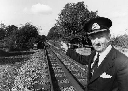 BW print; Epping - Ongar section of Central line - Bill Amies by J A Ballard, 25 Sep 1980