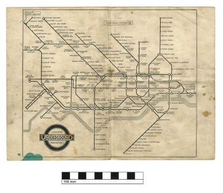 Related object: Map; Underground map with black print only, by H C Beck, 1933