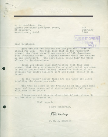 Related object: Letter; from F.H.K. Henrion to Harold Hutchison, 5 Feb 1948