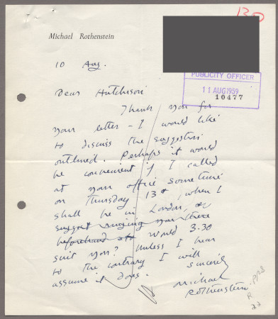 Related object: Letter; from Michael Rothenstein to Harold Hutchison, 10 August 1959