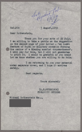 Related object: Letter; from Harold Hutchison to Michael Rothenstein, 5 August 1959