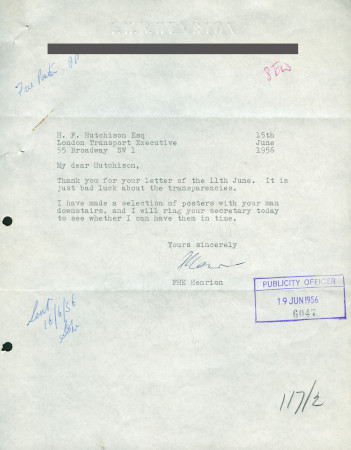 Related object: Letter; from F.H.K. Henrion to Harold Hutchison, 15 Jun 1956