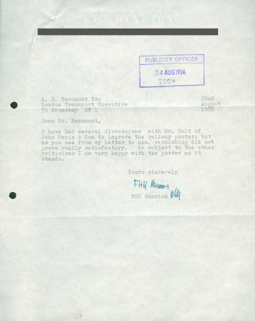 Related object: Letter; from F.H.K. Henrion to A.B. Beaumont, 22 Aug 1956