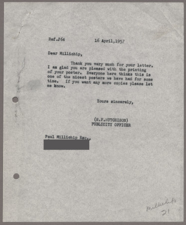 Related object: Letter; from Harold Hutchison to Paul Millichip about his poster design, 16 April 1957