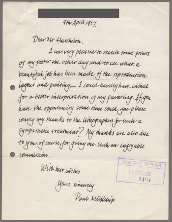 Related object: Letter; from Paul Millichip to Harold Hutchison about his poster design, 9 April 1957