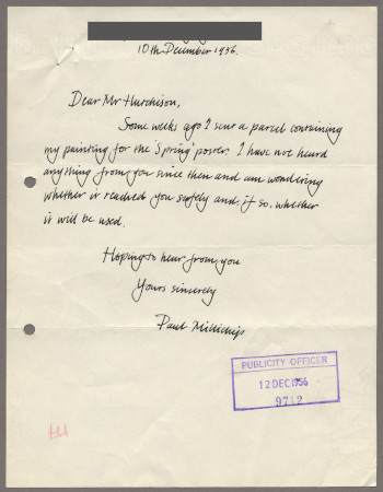 Related object: Letter; from Paul Millichip to Harold Hutchison about his poster design, 10 December 1956