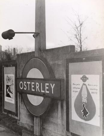 B/w print; station name roundel at osterley underground station, piccadilly line by topical press, 22 feb 1943