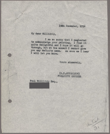 Related object: Letter; from Harold Hutchison to Paul Millichip about his poster design, 14 December 1956