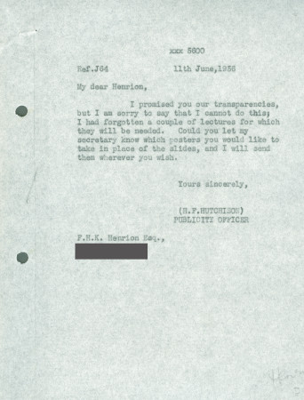 Related object: Letter; from Harold Hutchison to F.H.K. Henrion, 11 Jun 1956