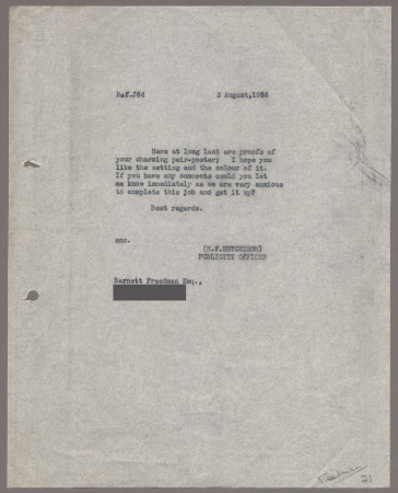 Related object: Letter; from Harold Hutchison to Barnett Freedman, 3 Aug 1956