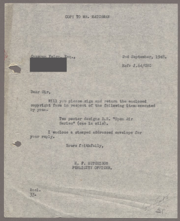 Related object: Letter; from Harold Hutchison to Cameron Foley, 2 Sep 1948