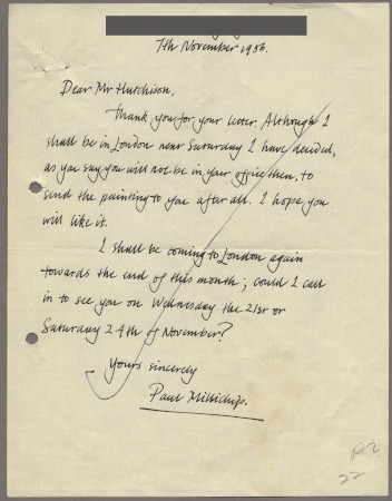 Related object: Letter; from Paul Millichip to Harold Hutchison about his poster design, 7 November 1956