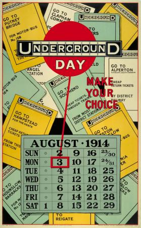 Poster; Underground day make your choice, August bank holiday, by Charles Sharland, 1914