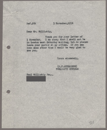 Related object: Letter; from Harold Hutchison to Paul Millichip about his poster design, 5 November 1956