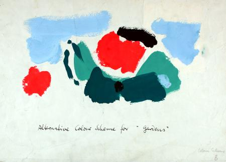 Related object: Poster artwork; Alternative colour scheme for Gardens, by Hans Unger, 1959