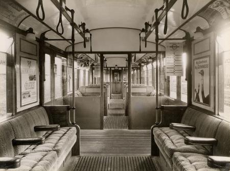 B/w print; interior view of hammersmith & city q35-stock trailer car by topical press, 13 jul 1936