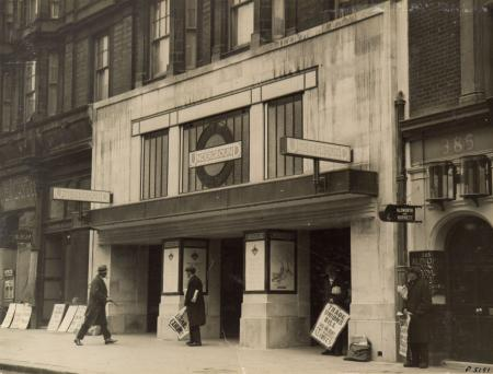 BW print; view of the fa231;ade of Bond Street station, by Underground Group Photo Dept, 1927