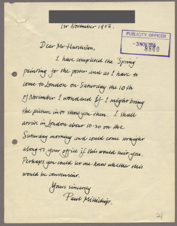 Related object: Letter; from Paul Millichip to Harold Hutchison about his poster design, 1 November 1956