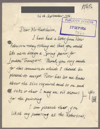 Related object: Letter; from Paul Millichip to Harold Hutchison about his poster design, 26 September 1956