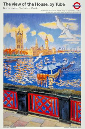 Poster; The view of the House by Tube, by Frederick Gore, 1991